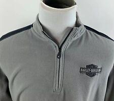 Harley Davidson Heavy Fleece Quarter Zip Jacket Gray Black Embroidered Medium