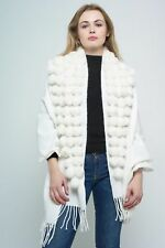 Faux Fur Trim Shawl Wrap Stole Luxurious Cashmere Feel Ivory One Size Sale Sale