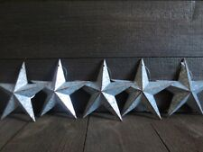 Lot of 5 Galvanized Primitive Rusty Metal Barn Stars 6 inches Rustic Country Tin