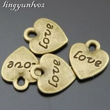 Antique Bronze Alloy Love Heart Pendants Charms Findings Crafts 50x 50534