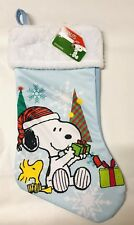 "Peanuts Snoopy Woodstock Christmas Stocking 16"" Blue White Holiday Gift New"