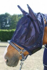 Fliegenmaske Insektenschutzmaske mit Ohren Fleeceeinfassung  Gr. Full Fa. blau