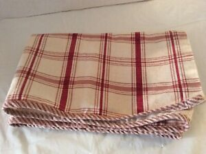 """WAVERLY Window VALANCE Red Country Window Pane Check Gingham Tier 60"""" Long"""