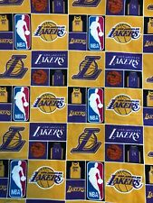 """Los Angeles Lakers Fabric- 100% Cotton-By the Fat Eighth (9""""x22"""")- Ship from USA"""