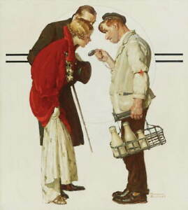 Norman Rockwell The milkman and the young couple Giclee Canvas Print LARGE SIZE