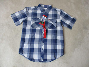 NEW Orvis Button Up Shirt Adult Medium Blue White Plaid Fly Fishing Fisherman