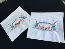 Pair Of Vintage White Cotton His & Hers Embroidery Swans Pillowcases