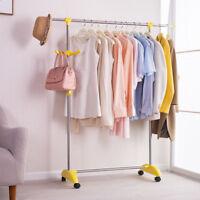 Adjustable Rolling Garment Rack Single Rail Heavy Duty Clothes Hanger Hook Stand