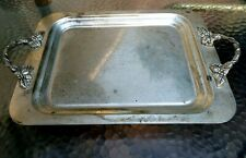 Antique Serving Platter Scroll Square Handles Ornate Tray USA legs Silver Plate