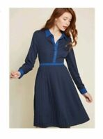 MODCLOTH NEW $79 Just My Typist Long Sleeve Pleated Shirt Dress Blue Size 24