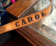 30 True Vtg 70s LEATHER Cowboy CAROL MONOGRAM TOOLED Western Nocona Belt  USA