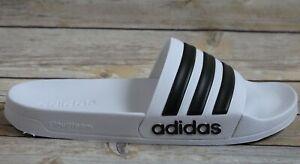 Adidas Mens Sizes 10-13 Adilette Shower Slides White/Black Pool Sandals 714001