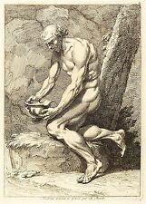 BERNARD PICART - Antiker Krieger, in seinen Helm blickend - Kupferstich 1734