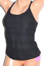 *NEW Island Escape Black Strappy Crochet Add-a-Size Tankini Top Size 10 #I6