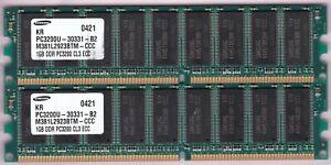 2GB 2x1GB PC-3200E DDR-400 ECC SAMSUNG M381L2923BTM-CCC RAM MEMORY KIT DDR1
