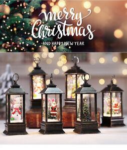 NUOBESTY Christmas Lantern Lighted Snow Globe Lantern Lighted Xmas Glittering Night Light Angel Figurines Desktop Ornaments Christmas Fireplace Decor Gifts