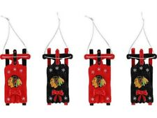NIB Licensed Chicago Blackhawks 4 Pack Sled Christmas Ornaments Too Cool! bar