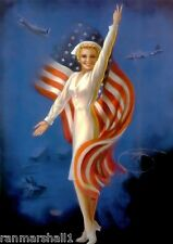 1940s Pin-Up Girl American Red Cross Army Nurse WW II Picture Poster Print Art