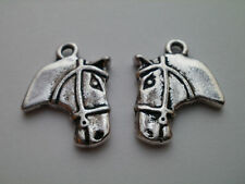 10 TIBETAN SILVER HORSE HEAD CHARMS