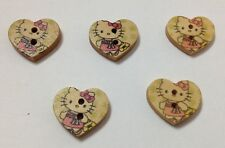 10x Hello Kitty Wood Crafting Buttons 4 Sewing Clothes hairband Ect..