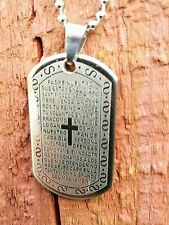 DOG TAGS STAINLESS STEEL MENS BOYS LORDS PRAY FATHERS DAY WEDDING Army navy M40