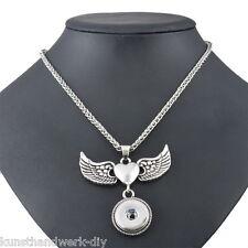 KUS 1 Halskette Ketten Herz Flügel Anhänger für Druckknopf Click Buttons 58cm
