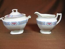 J & G Meakin MEK403 Creamer and Sugar Bowl with Lid Blue Band Basket of Roses