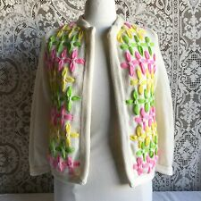 New listing Vintage 1960s Lee Herman White Open Front Cardigan Sweater with Pastel Flowers
