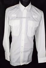 "NEW Police PC Security Officer Prison Pilot White Long Sleeve Shirt 19""Collar"