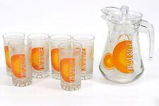 Omroc 7 Piece Glass Water Set (NEW) 1.5 litre Jug & 6 Tumblers (225ml) - Orange