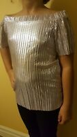 NEW River Island Girls Silver metallic pleated bardot top, 3-12 yrs SOLD OUT!