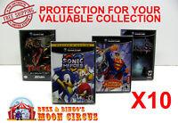 10X NINTENDO GAMECUBE CIB GAMES - CLEAR PLASTIC PROTECTIVE BOX PROTECTORS CASE