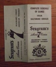Original Vintage 1954 Baltimore Orioles Baseball inaugural Schedule Seagram's