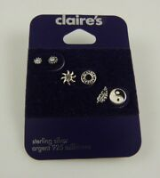Sterling Silver 3 pair ying yang celestial post studs earring  earrings 925