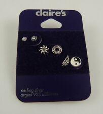 Sterling Silver 3 pair ying yang celestial post studs earring  earrings 925
