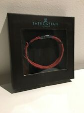 BNIB Tateossian London Real Leather Red Steel Spiky Distressed Bracelet Size L