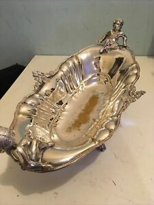 Silver Plate Fruit Bowl With Cherubs