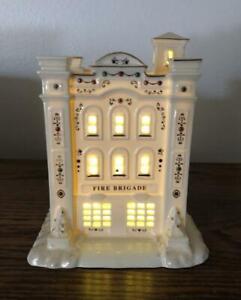 Lenox Mistletoe Park Series Christmas Village Fire House Station EUC (No Box)