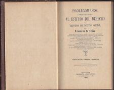 Libro Prolegómenos al estudio del derecho y principios del derecho natural. 1898