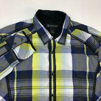 INC International Concepts Pearl Snap Shirt Mens Medium Long Sleeve Plaid Casual