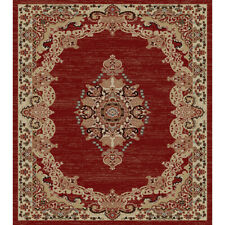 Aubusson Area Rug Large Modern Contemporary Transitional Red Beige 8X10 5X7