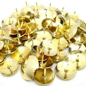 Quality Brass Drawing Pins Gold Office Notice Cork Board Desk Tack Thumb Push