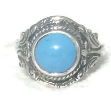Vintage Turquoise Floral  Band Sterling Silver Girls Women Ring Size 7