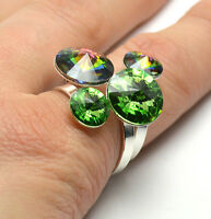 SILVER PLATED - RIVOLI RINGS - Crystals from Swarovski® - Adjustable