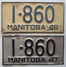 Manitoba 1946 & 1947 SINGLE PLATE YEAR SAME NUMBER License Plates NICE # 1-860