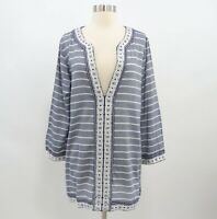 Soft Joie Tunic Top Dress Womens M Medium Blue White Embroidered V-Neck Samali