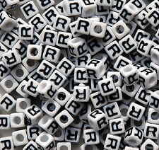 Letter R - 100pc 7mm Alphabet Beads White with Glossy Black Letters