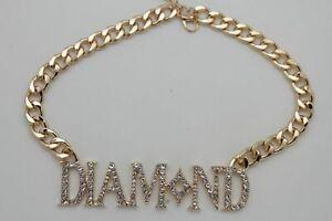 Men Women Gold Metal Chain Necklace 3D DIAMOND Pendant Gangster Hip Hop Fashion