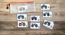 Numbers Flash Cards Monster Trucks and Cars Laminated New Comes with Zip Pouch