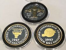 1997 Gold Gilded Championships 3x 1 Troy Oz .999 Fine Silver Round Coin NBA Bull